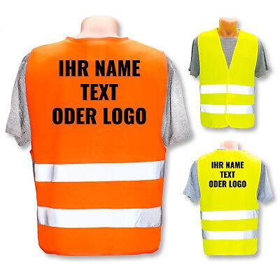 Sicherheitsweste Warnweste ISO 471 * eigenes Logo Name Bild *  Druck Gelb Orange (Nylon Sicherheits-weste)