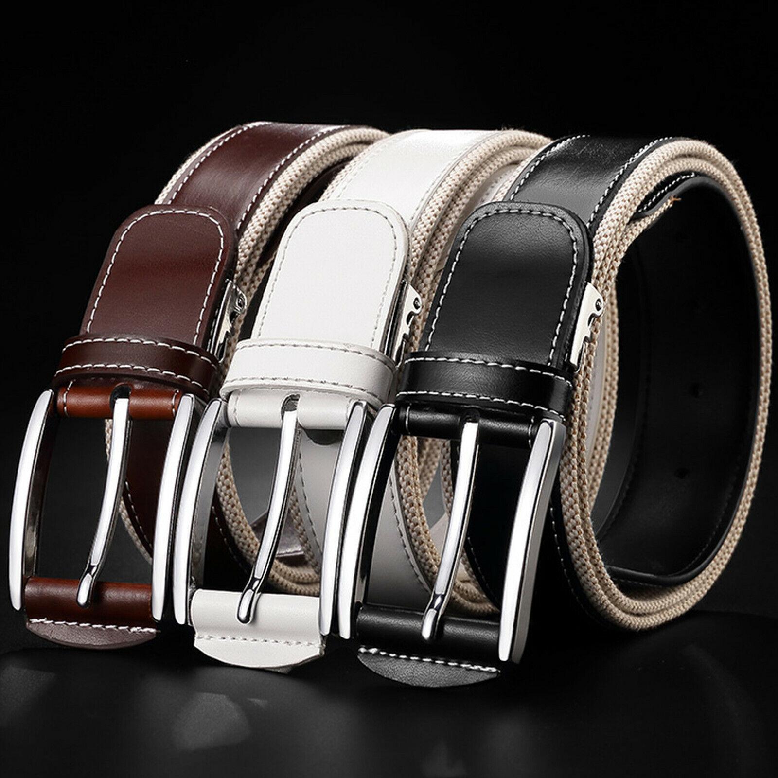 Men's Metal Buckle Top Grain Leather and Canvas Business Casual Dress Belt Belts