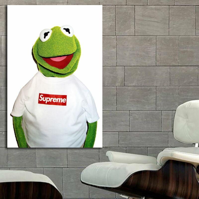 EB001 Supreme Hypebeast Poster Kermit Art Canvas