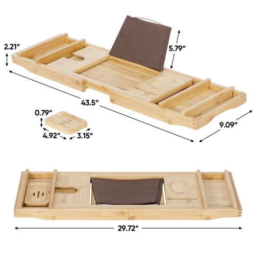 Expandable Bamboo Bathtub Caddy Tub Rack Tray Bathroom Book Pad Tablet Holder Bath