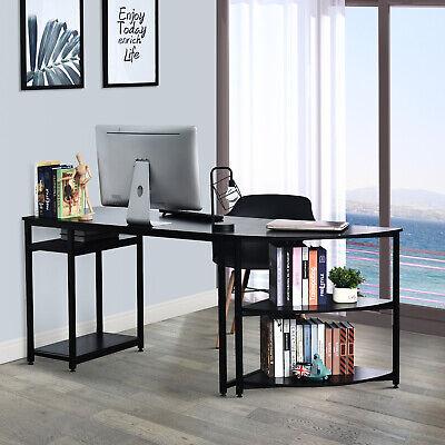 HOMCOM 2-Piece Computer Desk Free Combination w/3-tier Shelves Home Work Station
