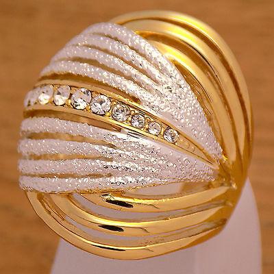 Impressive Gorgeous Gold Plate Luxury Stylish Ring Size 8 US with White -