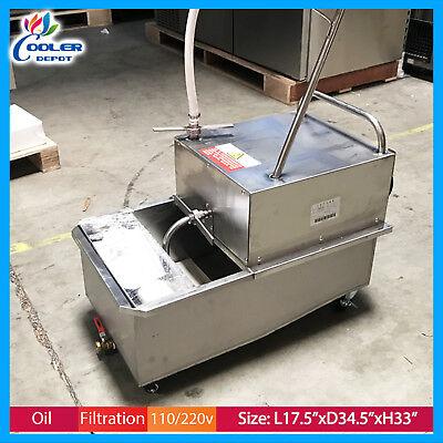 55 Lbs Fryer Oil Filter Cart Portable Commercial Filtration System Cooler Depot