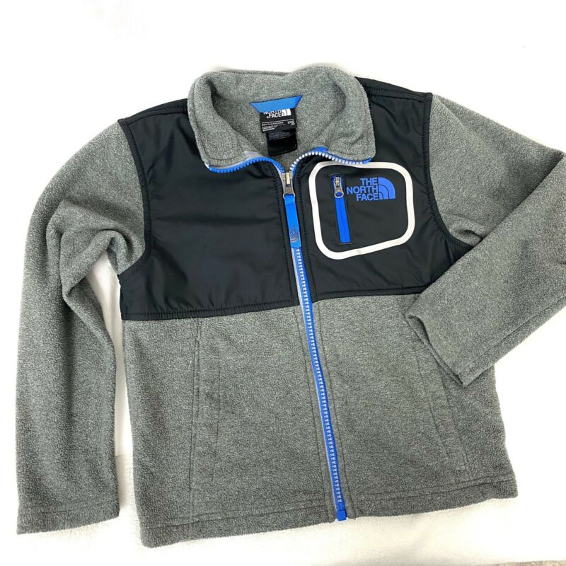 The North Face Fleece Jacket Boys XXS Gray Black Blue Full Zip Up Lightweight