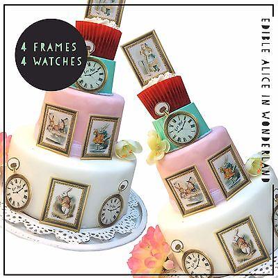 Alice In Wonderland Cake Decorations (Alice in Wonderland Edible Frames + Stop Watch Cake & Cupcake Decorations x)