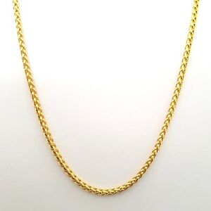Source 20 inch 18ct gold Braided Wheat Rope Chain Necklace 2mm thick
