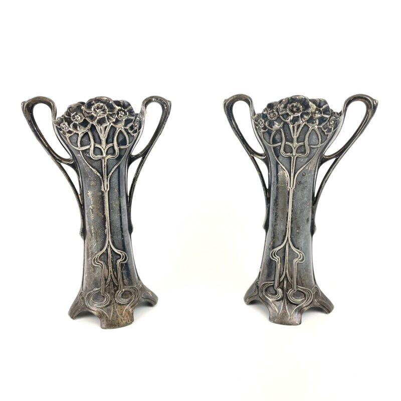 Fine Antique Pair Of WMF Art Nouveau Bud Vases (Liners Missing) Silver Plated