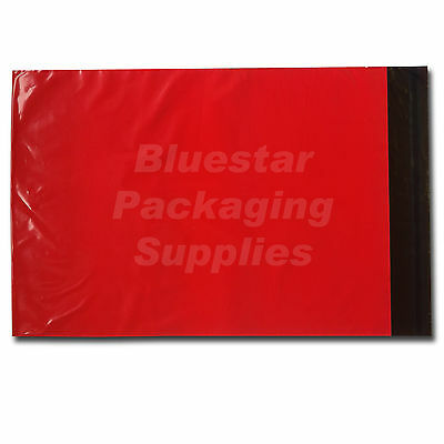 200 Red Strong Polythene Postage Mailing Bags 12 x 16