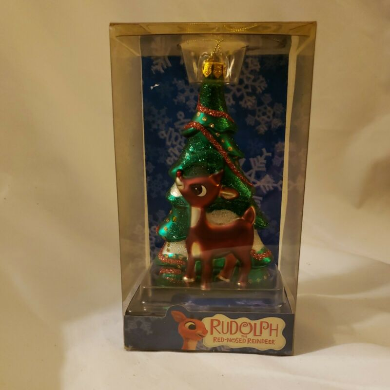 Brass Key 2003 Rudolph The Red Nosed Reindeer Glass Christmas Holiday Ornament