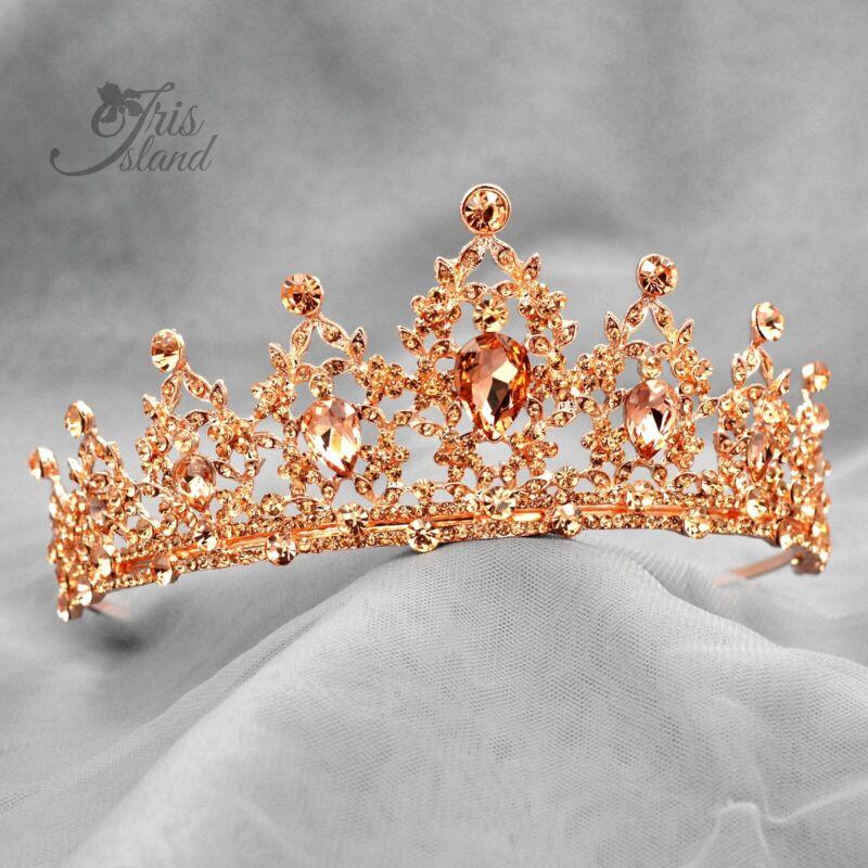 Pincess Austrian Crystal Tiara Crown Wedding Bridal Party Pageant 7 Rose Gold
