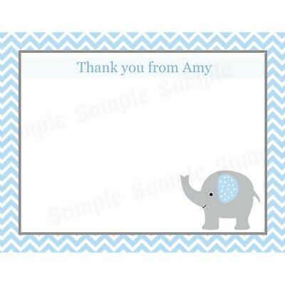 Personalized Baby Shower Thank You Cards (20 Personalized Thank You Cards  - Blue Elephant Design - Baby Shower Thank You)