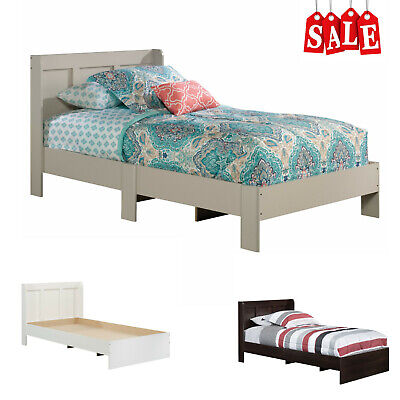 Wooden Twin Size Platform Bed Frame Foundation with Headboard for Kids Bedroom ()