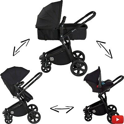 Kinderwagen Kombikinderwagen Babyschale Buggy Sportwagen BabyGo 3in1 NEU SCHWARZ