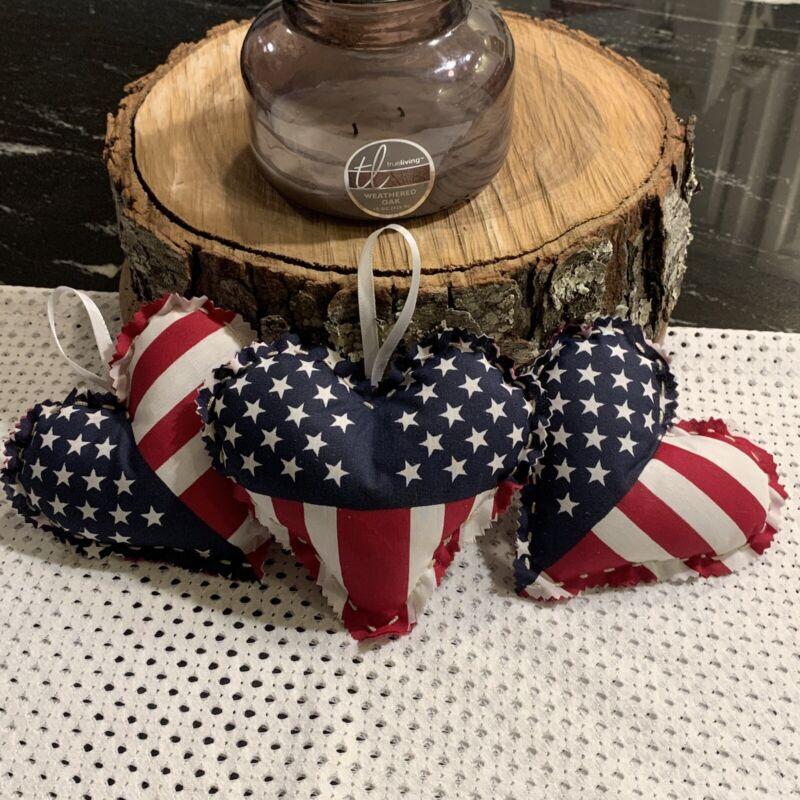 All American Red/White/Blue USA Flag heart Trio Americana Decor/Decoration