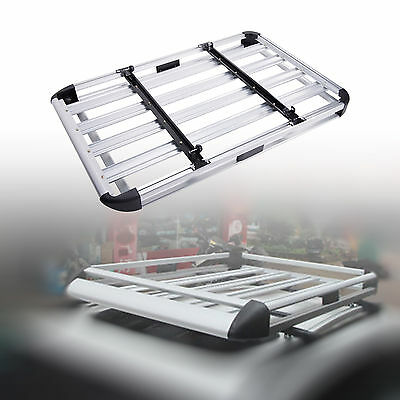 Universal Aluminum Car Roof Cargo Carrier Luggage Basket Rack Top w/Crossbars