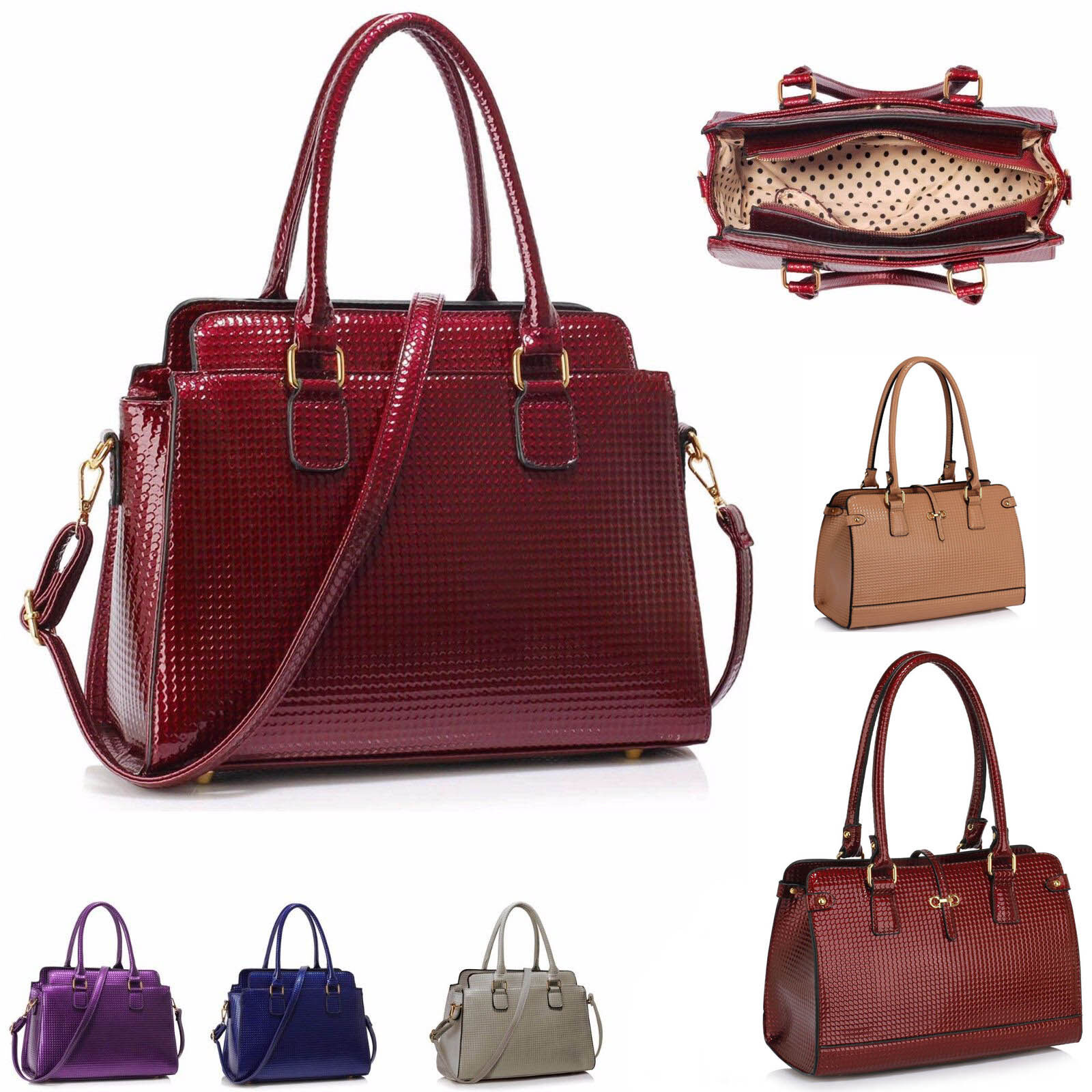 Women's Faux Leather Fashion Tote Shoulder Handbags Bags Top