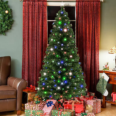 BCP 7ft Fiber Optic Artificial Christmas Pine Tree w/ 280 Lights, Stand ()