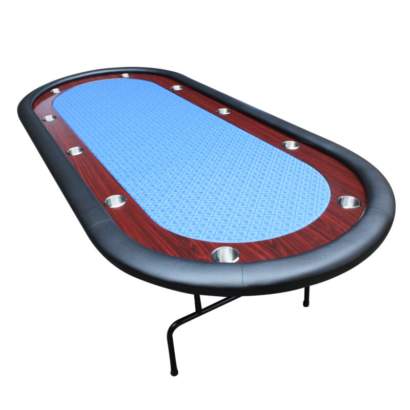 """IDS 96"""" Light Series Poker Table Blue Speed Cloth Racetrack with Folding Legs"""