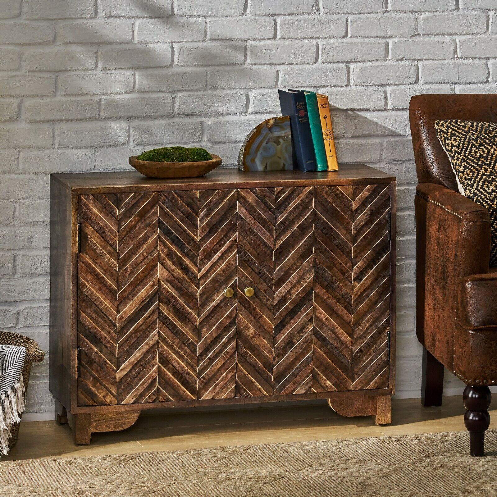 Glentana Boho Handcrafted Mango Wood 2 Door Cabinet, Light Gray Cabinets & Cupboards