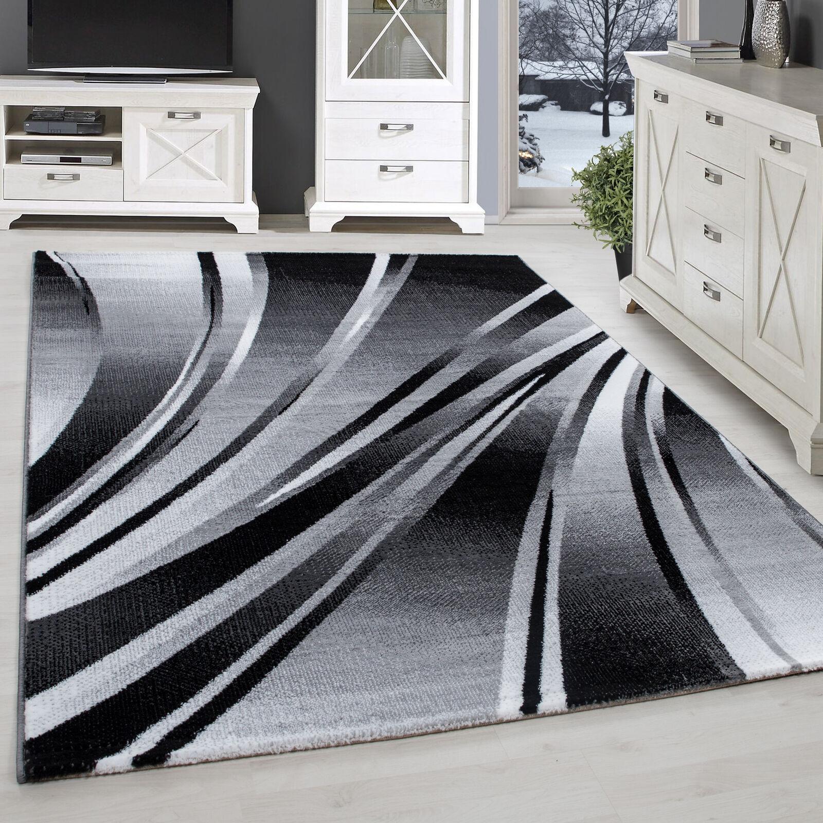 Teppich Modern Designer Wohnzimmer Kurzflor Abstrakt Wellen Muster Schwarz Grau