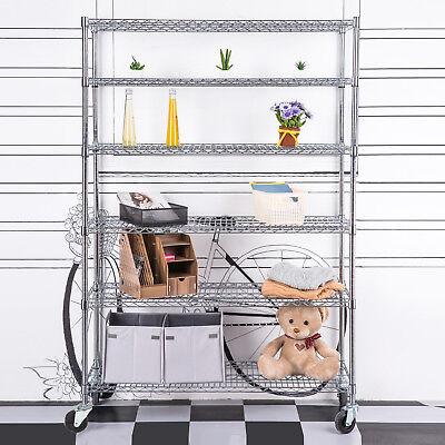 Adjustable 6 Tier Wire Shelving Rack 82x46x18 Heavy Layer Duty Steel Shelf