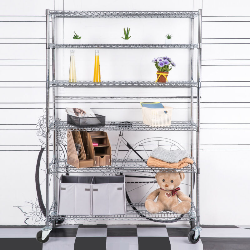"Adjustable 6 Tier Wire Shelving Rack 82""x46""x18"" Heavy Layer Duty Steel Shelf"