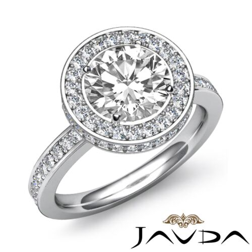 Halo Pave Round Diamond Engagement Ring GIA F SI1 Clarity 14k White Gold 2.3ct