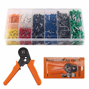 Ratcheting Ferrule Crimper Plier Crimping Hand Tool +800 Wire Terminal Connector