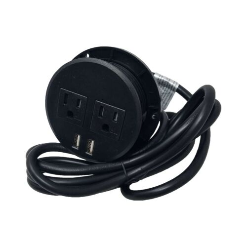 """Desktop Table Power Grommet Outlet US Plugs 2 USB Ports Charger Computer 3"""" Inch"""