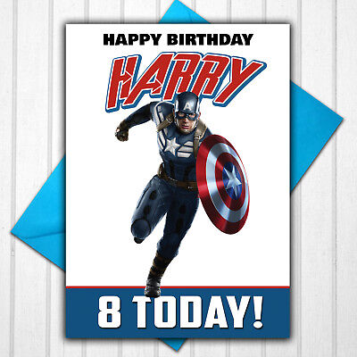 Captain America Personalised 5th 6th 7th 8th 9th Birthday Card Any Name Age - Captain America Birthday Card