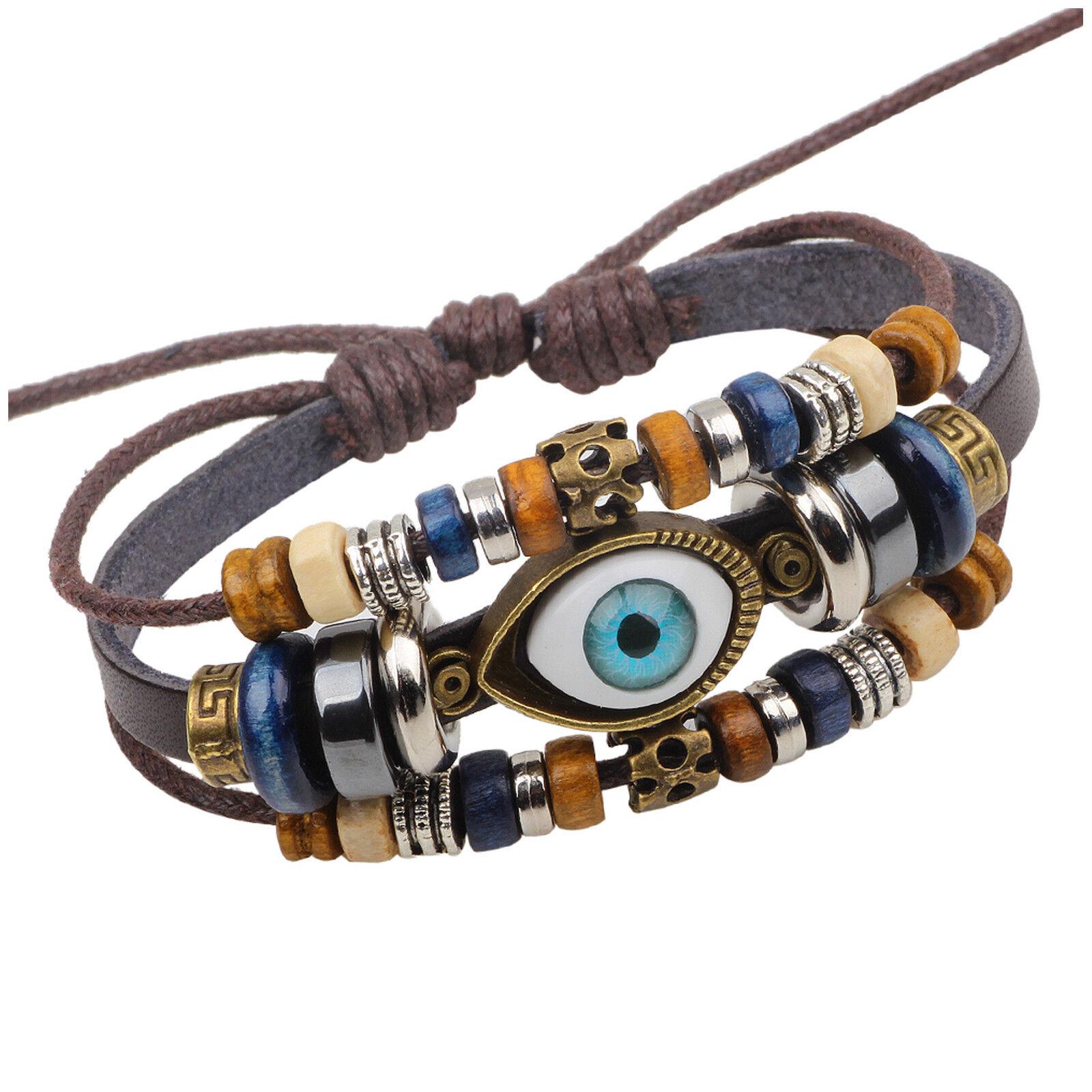 Tribal Evil Eye and Bead Charms Unisex Men Women Leather Wristband Bracelet Bracelets
