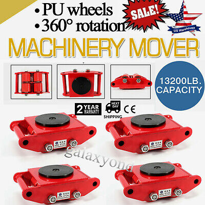 4pcsset Machine Dolly Skate Machinery Roller Mover Cargo Trolley 13200lbs6 Ton