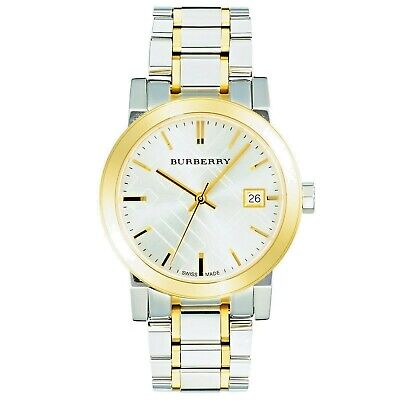 New Burberry ladies city watch with a silver gold case and strap BU9115