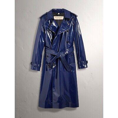 $1995 Burberry Women's Navy Blue Patent Canvas Trench Rain Coat 4065455 Navy Blue Raincoat