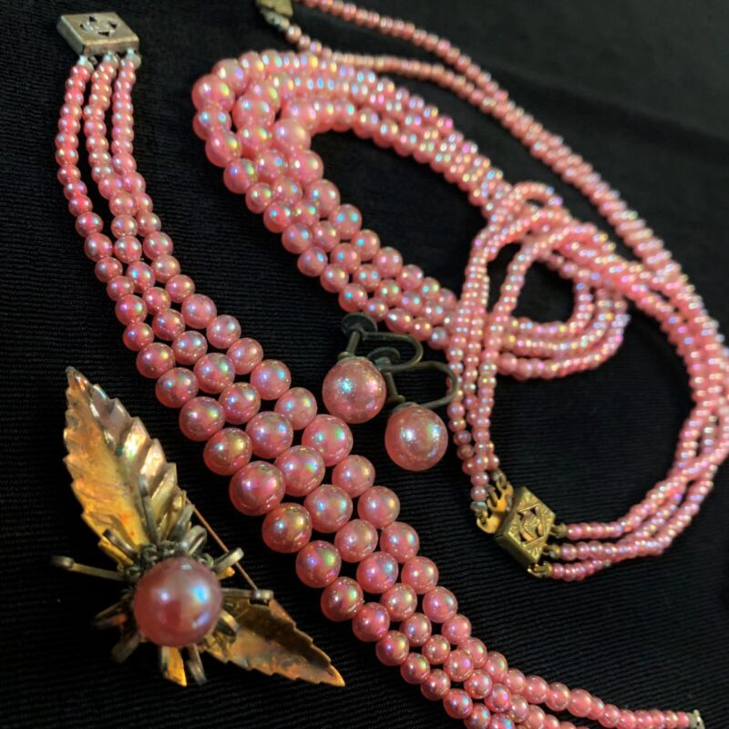 Vtg Art Deco Pink Venetian Givre Glass Bead Parure Jewelry Set Of 5 Brass RARE
