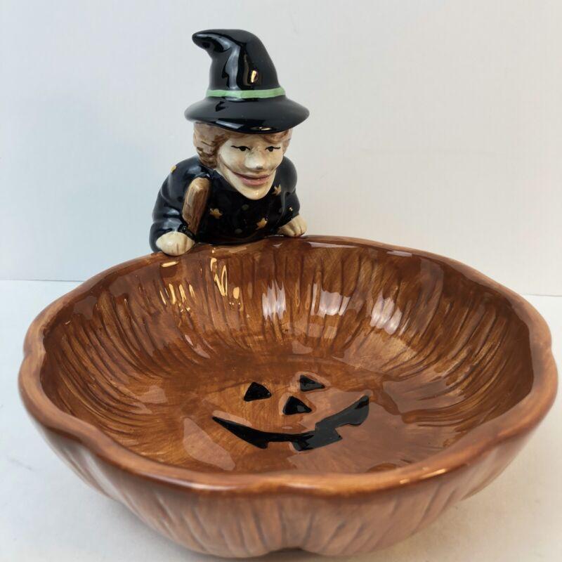 Halloween Witch Candy Dish Debbie Mumm By Sakura 1998 Hand painted Treat Bowl