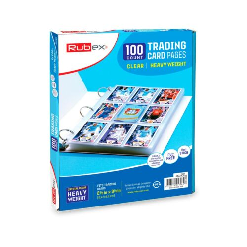 100 Clear Heavyweight Trading Card Holders, 9 Pocket Card Holder