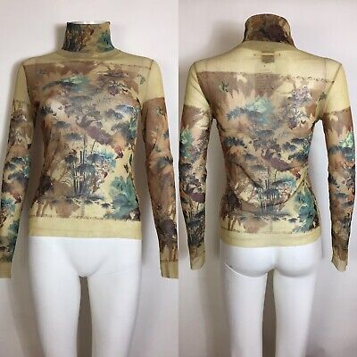 Rare Vtg Jean Paul Gaultier Yellow Botanical Print Mesh Top S
