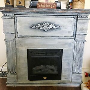 Rustic Chalk Paint Electric Fireplace