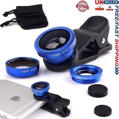 3 in 1 Fish eye Wide Angle Macro Clip On Camera Lens Zoom For iPhone 6 6s 7 8