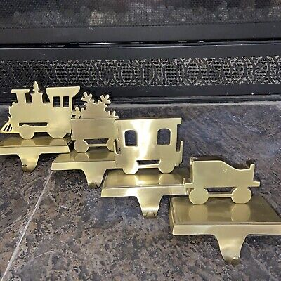 "NICE VTG Christmas ""4"" Piece TRAIN SET Heavy Brass Mantel Stocking Holder Hanger"