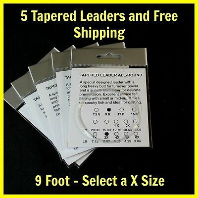 9 ft - Fly Fishing TAPERED LEADER 6 sizes - (Package of 5) mails fast from (Flying Packages)