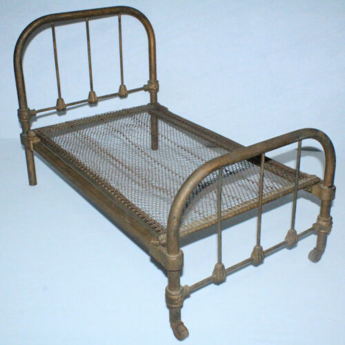 "Fantastic Vintage Brass Metal Doll Bed 25"" x 16"" Antique Art Bed Co Chicago"