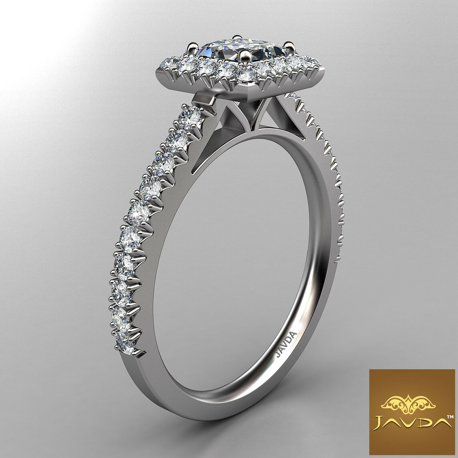 2.04ctw Halo French Pave Princess Diamond Engagement Ring GIA F-VS1 White Gold 2