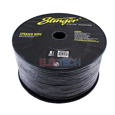 Stinger SPW512BK Audio Speaker Wire 12 Gauge Cable 250ft Spool Roll Black, used for sale  Shipping to India