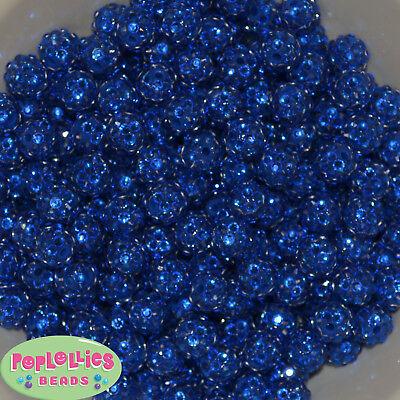 12mm Deep Royal Blue Resin Rhinestone Bubblegum Beads Lot 40 pc.chunky -