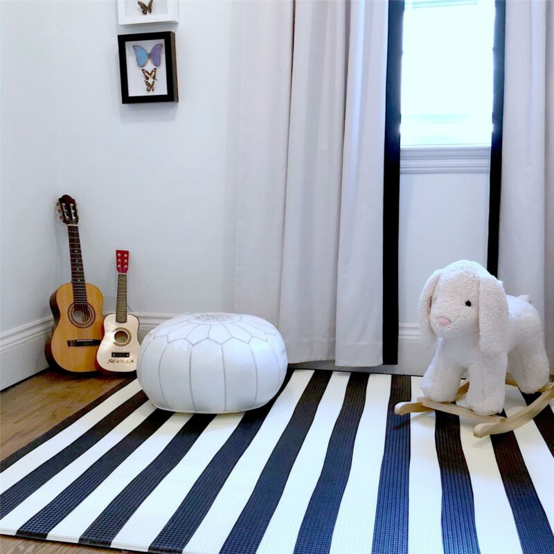 Play with Pieces Blue Moroccan + Stripe Reversible Play Mat for Kids