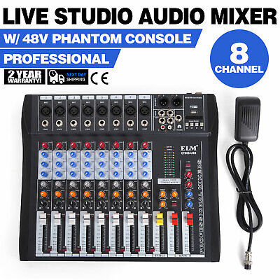 8 Channels Mic/Line Audio Mixer Mixing Console Recording Stereo (8 Channel Stereo Line Mixer)
