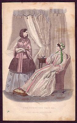 1850s Original Antique Victorian Period Ladies Fashion Costume Art Decor Print