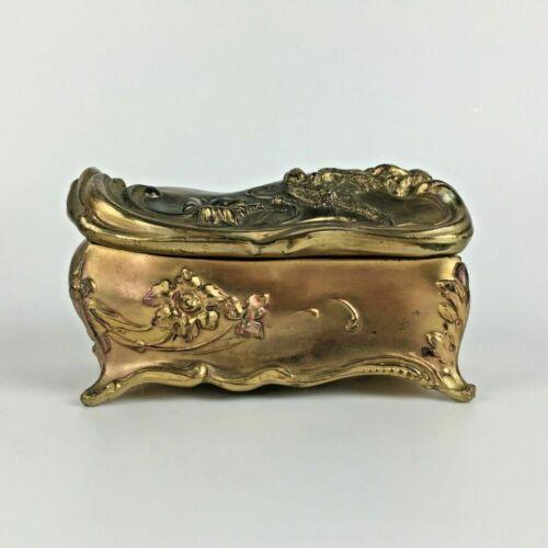 Antique Victorian Art Nouveau Jewelry Casket Box Gold Tone Flower Bird Silk Gift